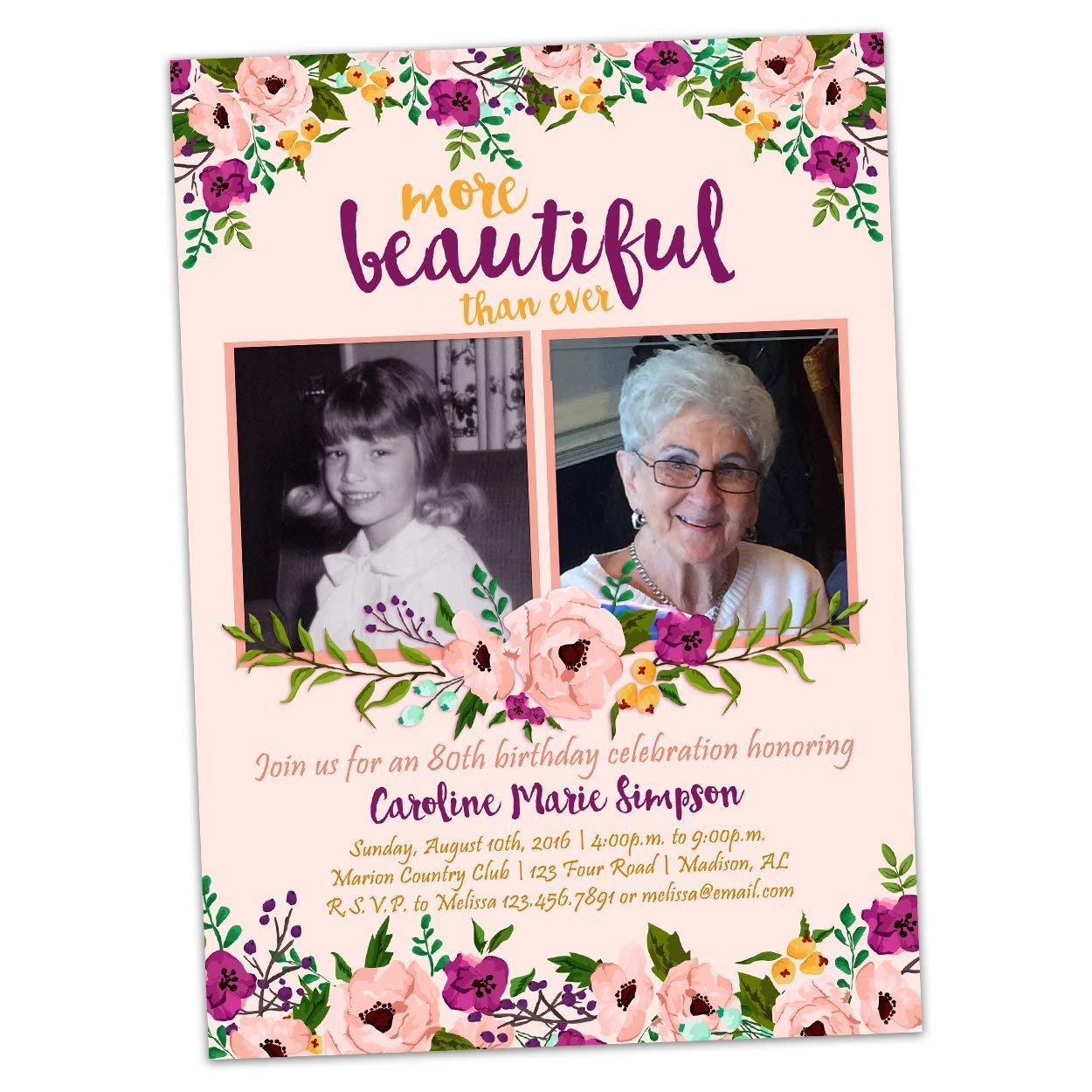 Woman Birthday Invitations 2021 Pink Floral 60th Gifts 70th Purple ph 505th