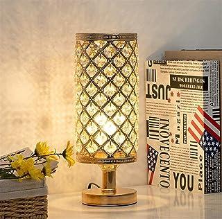 FGDSA Lámpara De Mesa De Cristal, Lámpara De Mesa Dorada Simple Moderna, Lámpara De Noche para Decoración De Cabecera En L...