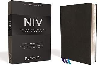 NIV, Thinline Bible, Large Print, Premium Leather, Goatskin, Black, Premier Collection, Comfort Print