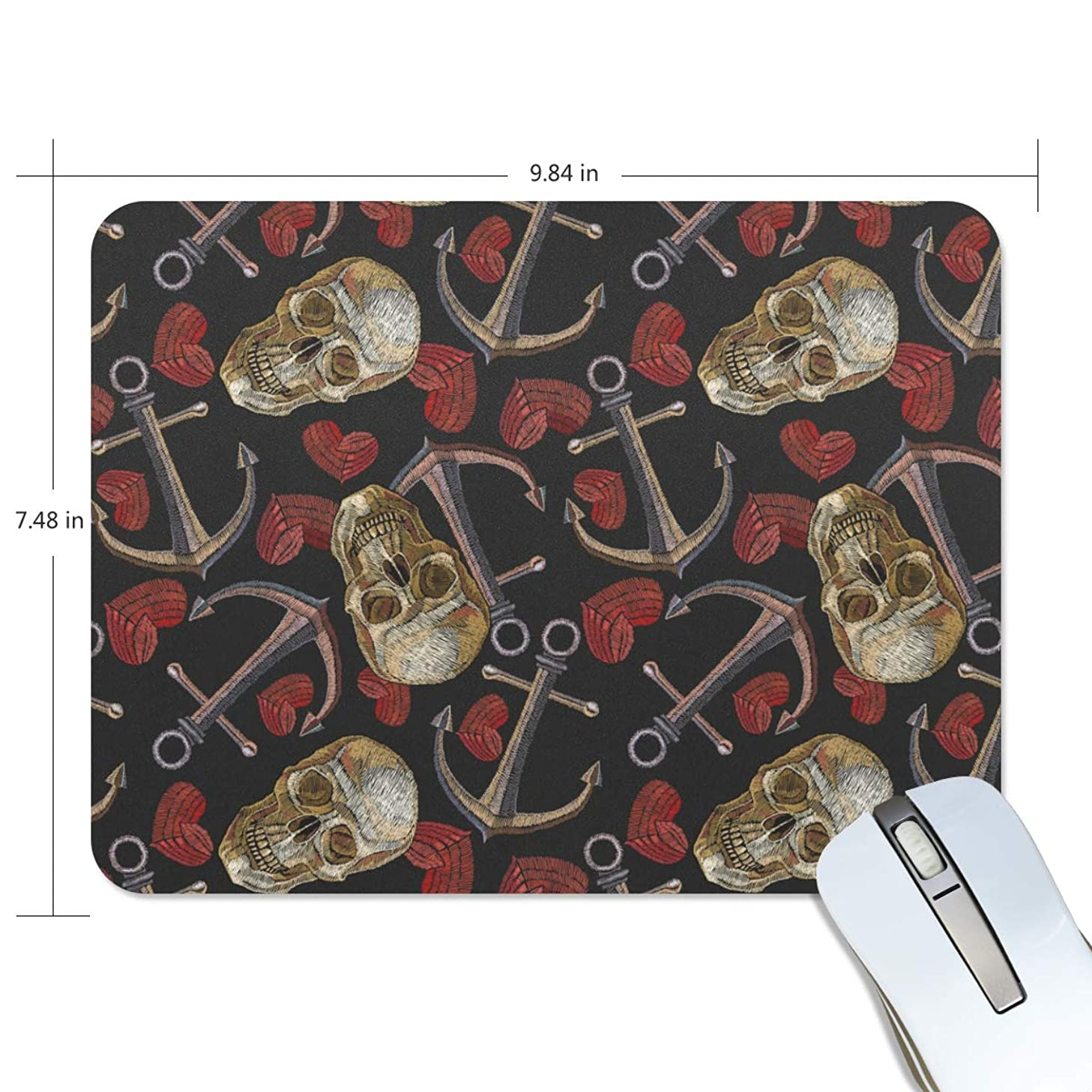 BlueViper Skull Anchor and Heart Mouse Pad Smooth Surface Gaming Pad Thick Non-Slip Rubber Base Colorful Cute Design Art Artist Painting Unique Novelty Gift for School Office Game