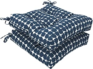 """LVTXIII Outdoor Seat Cushion with Ties, Fade-Resistant Wicker Seat Cushions, All Weather Tufted Chair Pads for Patio Furniture Decoration (Square Back, 19""""x19""""x5"""",Tie-dye Navy, 2 Pack)"""