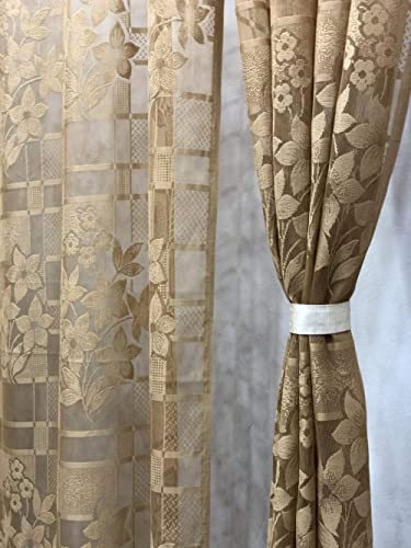Harshika Home Furnishing Polyresin Floral Door Curtain, 4 X 7, Brown, Pack of 2