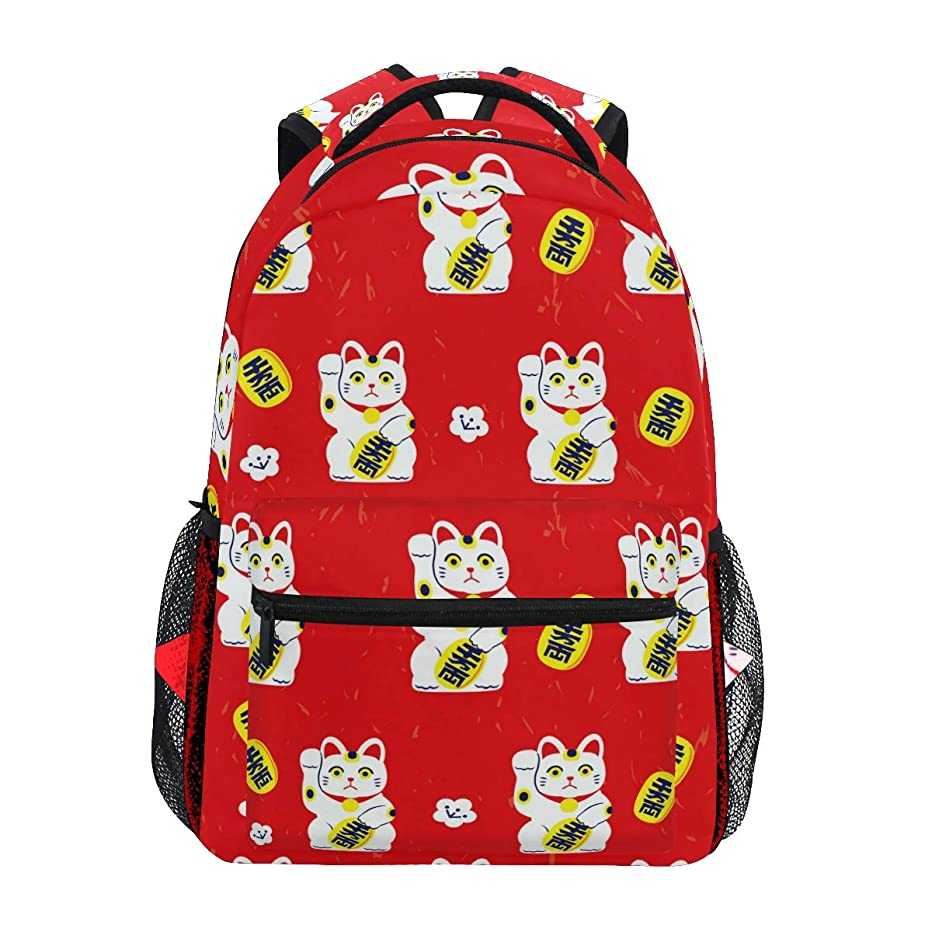 Japanese Plutus Cat Red Daypack Backpack School College Travel Hiking Fashion Laptop Backpack for Women Men Teen Casual Schoolbags Canvas