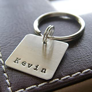 Personalized Key Chain - Custom Hand Stamped Sterling Silver Keychain with Square Charm and Name