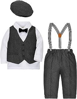 ZOEREA 4tlg Baby Jungen Bekleidungssets Hemd  Hose  Weste  Hut Fliege Krawatte Kinder Anzug Gentleman Festliche Hochzeit Langarm Body für Frühling Herbst
