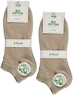 sockenkauf24, 6 pares de calcetines de algodón orgánico para hombre y mujer, sin costuras, con cintura cómoda.