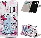 Huawei P Smart Plus H�lle Leder Tasche PU Leder H�lle Gemalt Muster Flip Brieftasche Kartenhalter Magnetschnalle St�nder Sto�fest Kratzfest Sto�stange Handyh�lle Netter Elefant