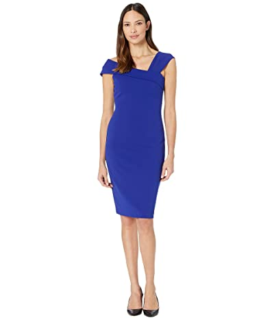 Vince Camuto Asymmetrical Neck Bodycon Dress (Cobalt) Women