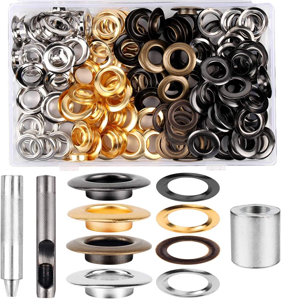 1/2inch Grommet Kit 100 Sets Grommets Eyelets with 3 Pieces Inst