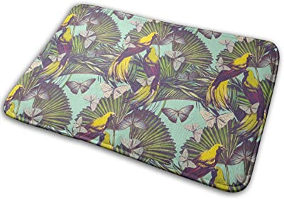 Butterfly Small Yellow Bird and Iron Tree Carpet Non-Slip Welcome Front Doormat Entryway Carpet Washable Outdoor Indoor Mat Room Rug 15.7 X 23.6 inch