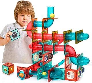 GAMZOO Magnet Marble Run-Speedy Magnetic Tiles Race Track Set! Building Blocks Toys STEM Learning Kit for Boys Girls Age 4...