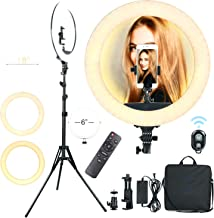 Ring Light with Tripod 18 Inch Halo and Phone Holder 3 Light Modes Dimmable LED Ring Light Full Set with Carrier Bag