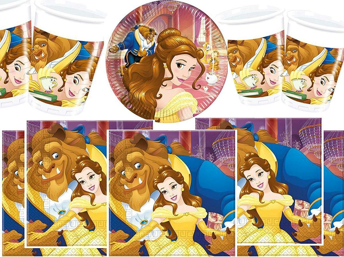 Conjunto para Fiestas de la Bella y la Bestia de Disney, Vasos, Platos y servilletas, 16 Piezas: Amazon.es: Juguetes y juegos