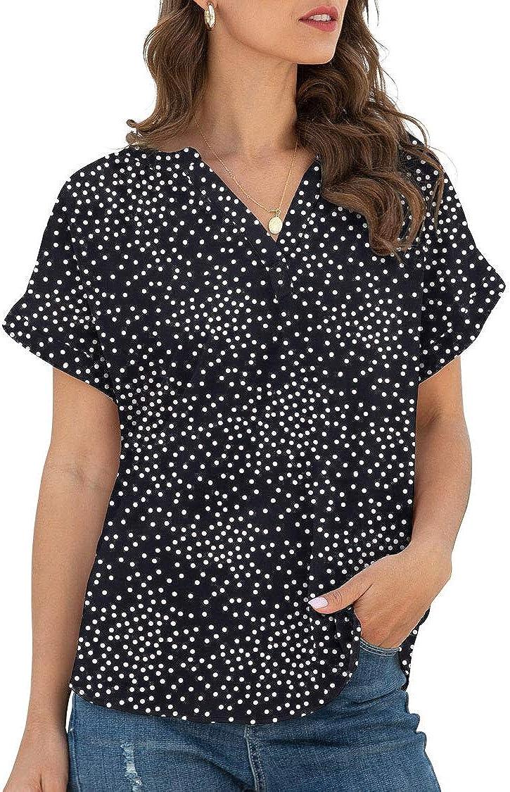 LILBETTER Women's Loose Casual Short Sleeve V-Neck Chiffon Top T-Shirt Blouse