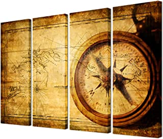 VVOVV - Navigation Canvas Painting Large Size Vintage World Map Wall Art Home Decor Antique Brass Sailing Compass Picture Framed Adventure Ocean Map Poster Retro
