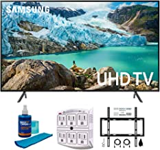 """$747 Get Samsung 58"""" RU7100 LED Smart 4K UHD TV 2019 Model (UN58RU7100FXZA) with Flat Wall Mount Kit Ultimate Bundle for 45-90 inch TVs, Screen Cleaner for LED TVs & SurgePro 6-Outlet Surge Adapter"""