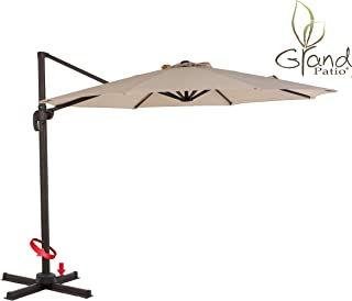 Grand Patio Super Sturdy 10 FT Aluminum Offset Umbrella, UV Protected Patio Cantilever Umbrella with Tilt and 360° Rotation, Champagne