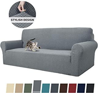MAXIJIN Newest Jacquard Extra Large Sofa Covers for 3 or 4 Cushion Couch, Super Stretch Non Slip Couch Cover for Dogs Pet Friendly Sofa Slipcover Furniture Protector (Oversized Sofa, Light Gray)