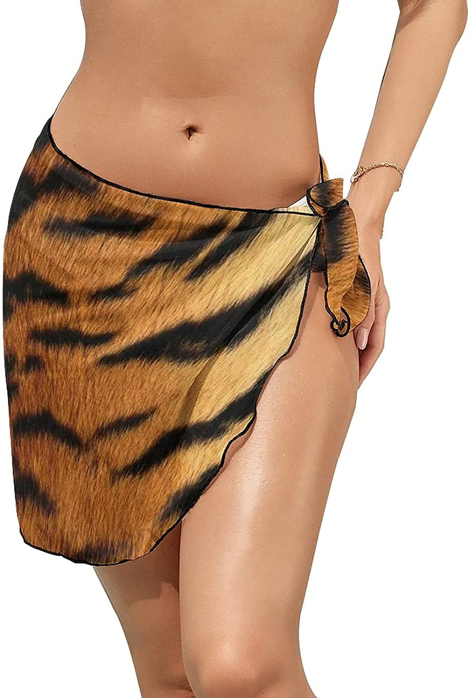JINJUELS Women's Beach Sarongs Bikini Cover Ups Tiger Print Sheer Swimwear Short Skirt