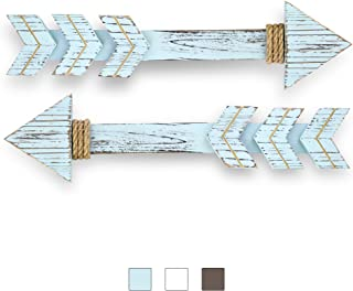"""JACKALOPE SUPPLY 17"""" Wooden Arrow Decor with Gold & Burlap Rope. Set of 2.."""