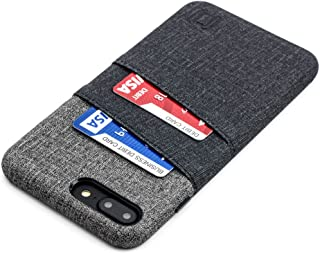 Dockem Luxe Wallet Case for iPhone 8 Plus and 7 Plus - Slim, Simple Card Case with UltraGrip Canvas Style Synthetic Leather: Professional Executive Cover with 2 Card/ID Holder Slots [Black and Grey]
