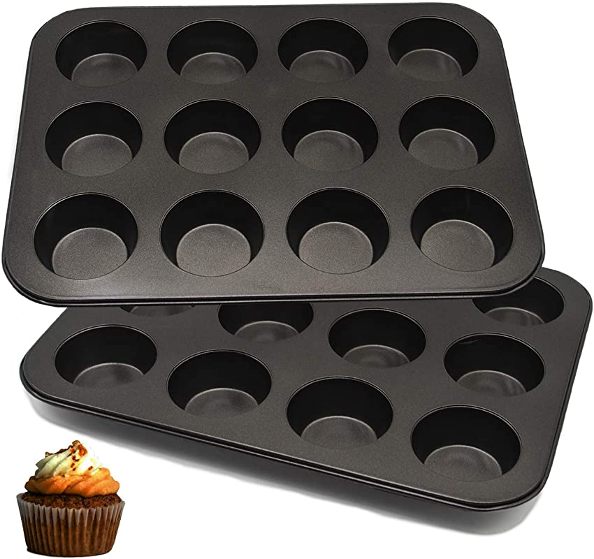 Vanly 12 Cup Muffin Pan Set Of 2 Premium Heavy Weight Nonstick Carbon Steel Bakeware For Muffin Cakes Bread Mousse Jelly And More Black