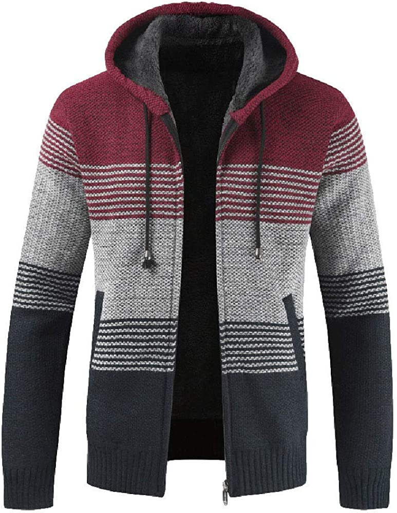 Misaky Cardigan for Men Autumn & Winter Casual Stripes Stand Collar Zip Pocket Long Sleeve Knit Cardigan Hoodie