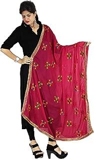 Phulkari Embroidery Dupatta Chunni Stole Wrap Hijab Scarf Golden Border for Woman Wear
