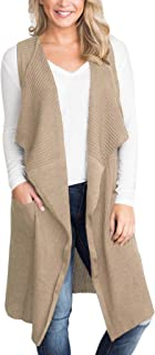 Women Sleeveless Open Front Knitted Long Cardigan Sweater Vest Pocket