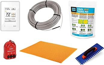 Schluter Ditra Signature Floor Heating Kit -145 Square Feet- Includes WiFi Touchscreen Programmable Thermostat, Heat Membrane, Heat Cable DHEHK240145, Safe Installation Tools, Heat Enhancing Additive