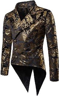 Zytyeu Men's Tuxedo Steampunk Vintage Victorian Jacket Gothic Costume Pirate Vikings Renaissance Formal Tuxedo Suit Weddin...