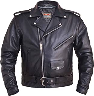 Men's Classic Motorcycle Biker Jacket Premium Buffalo Leather w/Zipper Pockets.