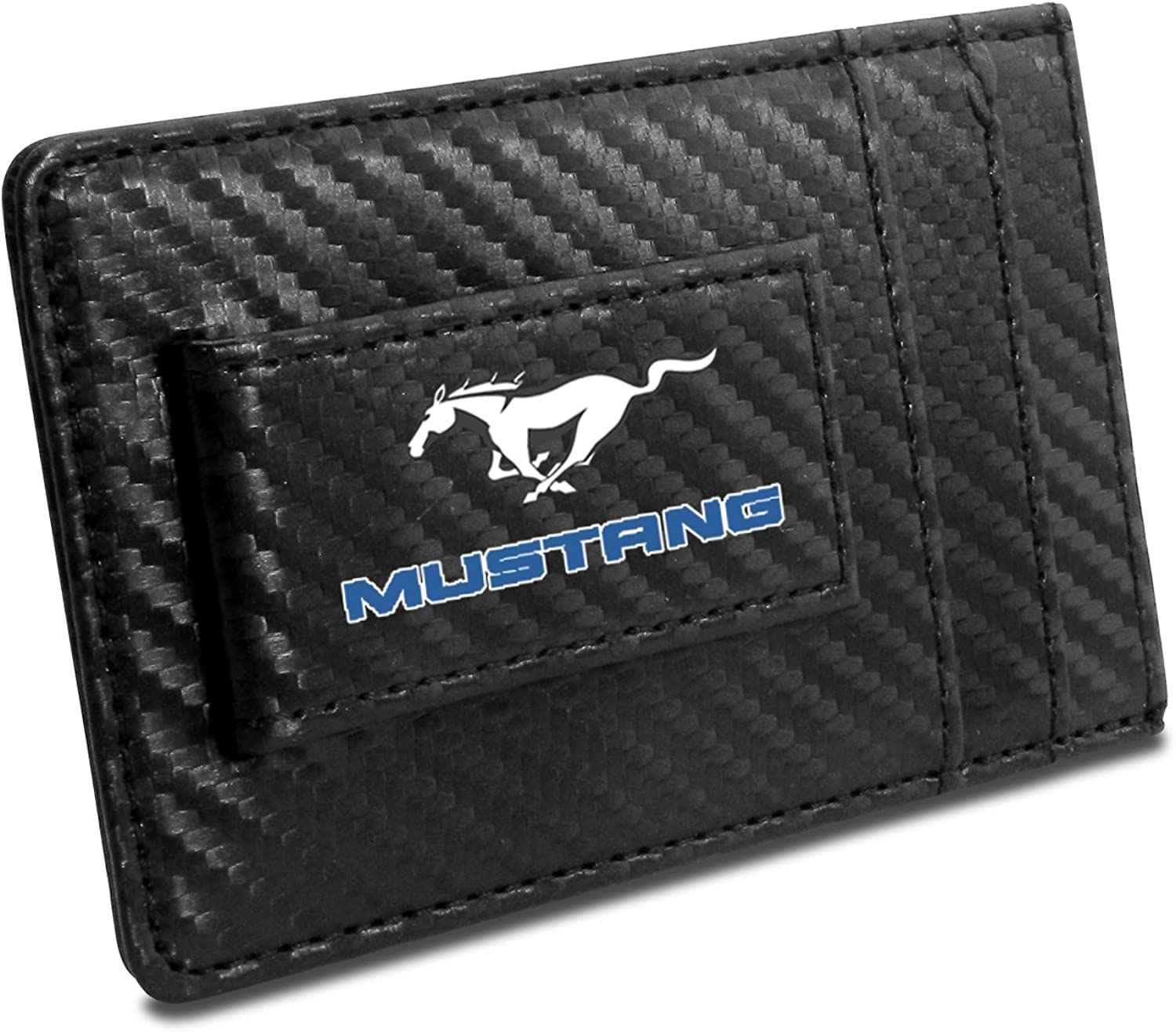 Ford Mustang in Blue Black Carbon Fiber Leather Wallet RFID Block Card Case Money Clip
