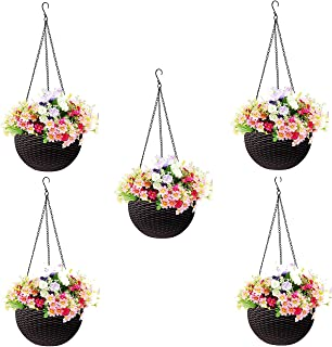 Go Hooked Plastic Hanging Pot, Dark Brown, Pot Diameter-7.1 Inch, Pot Height-4.8 Inch, Pot Thickness-3 mm, Chain Length-13...