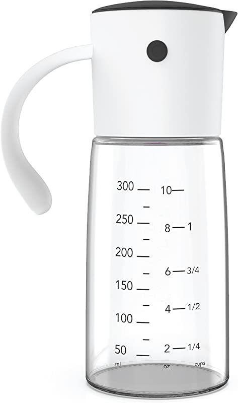 No Drip Perfect Pour Olive Oil Syrup Dispenser With Glass Bottle Measuring Base Black White Great For Kitchen Oils And Syrups