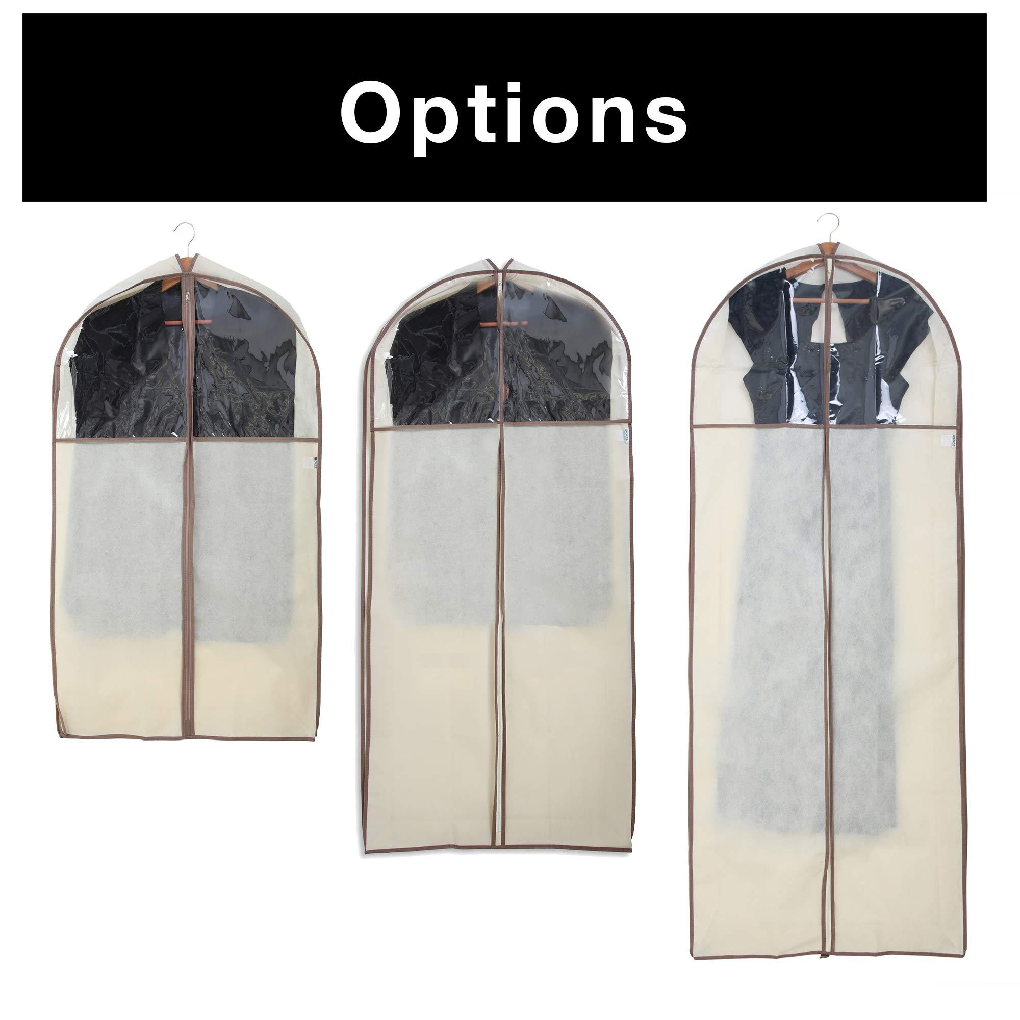 Smart Design Gusseted Garment Bag Hanger - Includes Zipper Closure /& Travel Loop Suits 24 x 42 Inch Beige - Clothing Storage Cover Dresses Travel Closet Organization -