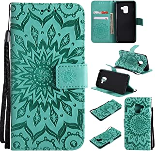Protective Case Compatible with Samsung PU Leather Flip Wallet Lanyard Protective Case with Bracket Card Slot Compatible Samsung Galaxy A8 2018 Phone case (Color : Green)