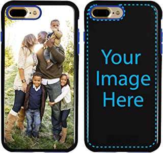 Custom iPhone 7 Plus / 8 Plus Cases by Guard Dog - Personalized - Make Your Own Rugged Hybrid Phone Case. Includes Guard Glass Screen Protector. (Black, Blue)