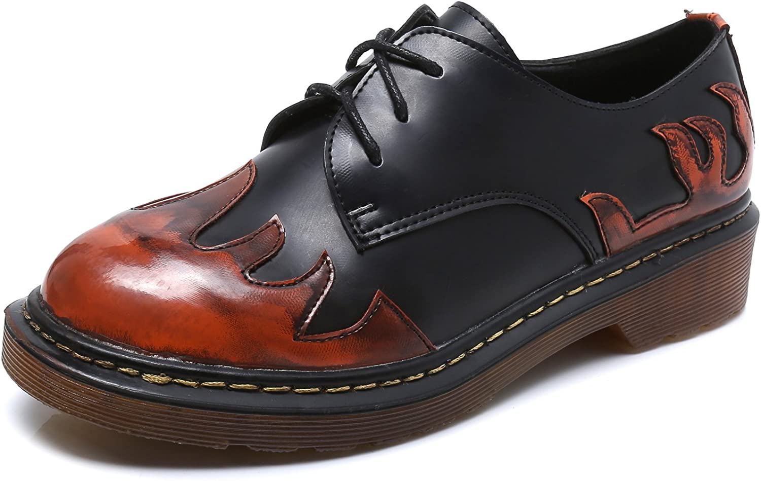 Smilun Lady's Classic Lace-Up shoes Red Flames Round Toe