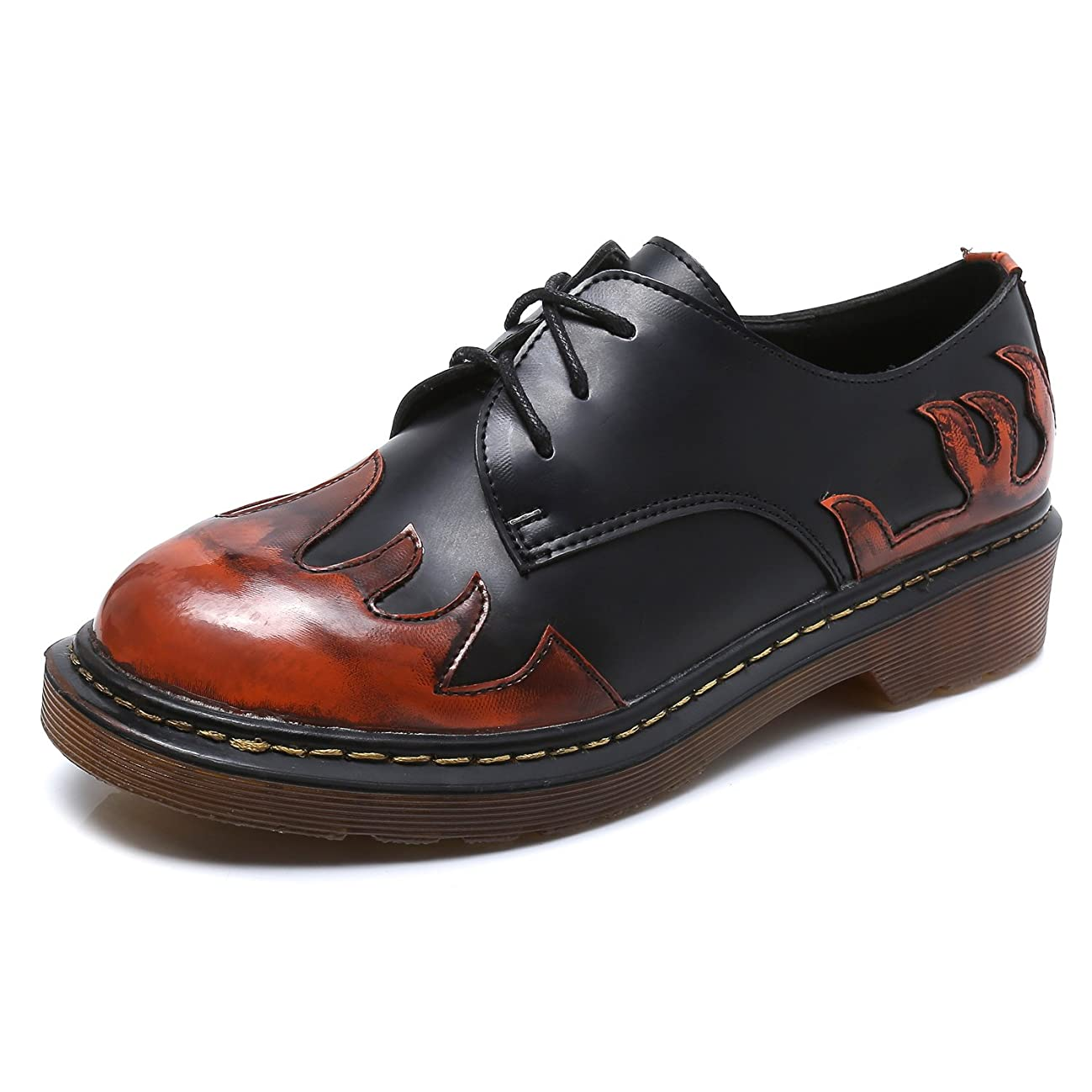 Smilun Lady?ˉs Classic Lace-up Shoes Red Flames Round Toe