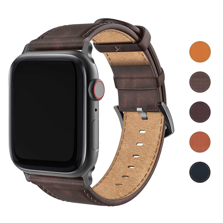 寸法サーマル数字FRESHCLOUD Apple Watch バンド コンパチブル 本革 レザー ビジネス アップルウォッチ バンド apple watch series5 4 3 2 1対応 42mm 44mm 腕時計ベルト おしゃれ 交換ベルト(グラデーションブラウン)
