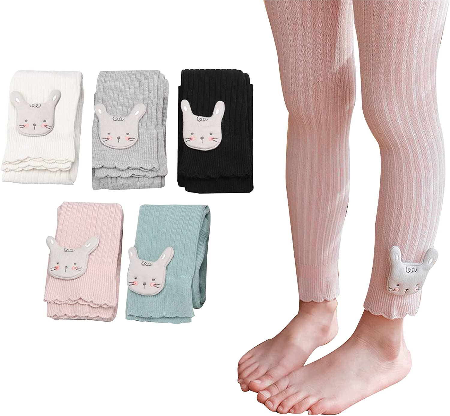 5 Pack Baby Todder Girl Cable Knit Leggings Footless Tights Pants Cotton Infant kids Stocking Pantyhose 0-6T