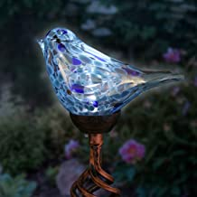 Exhart Solar Teal Hand-Blown Glass Bird Yard Stakes -Bird Garden Stake w/Solar LED Lights in Spiral Bronze Finial Design - Bird Metal Stakes, Bird Decor, Garden Art Bird Ornaments, 7