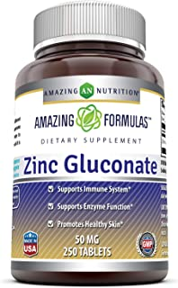 Amazing Formulas Zinc Gluconate - 50 mg, 250 Tablets (Non-GMO,Gluten Free) - Supports Immune System - Supports Enzymes Fun...
