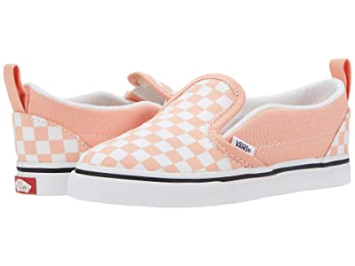 Vans Kids Slip-On V (Infant/Toddler) ((Checkerboard) Salmon/True White) Girls Shoes