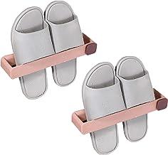 Lmbqye Badkamer Slippers Rek, 2 STUKS Handdoek Opslag, Badkamer Toiletrolhouder Rek, Wandmontage Rail Stick Handdoekhouder...