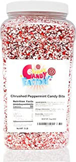 Crushed Peppermint Candy Pieces Bits in Jar (5 Lbs)