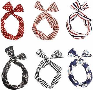 Dee Plus 6 piezas Mujeres Flexible Conejito Del Ala Diademas y cintas para el pelo Con estilo y elegante multifunción Del Oído Banda Para La Cabeza Del Abrigo De Bow Pin-Up Dos estilos,Bolsa de regalo