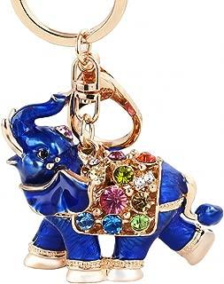 Womens Thailand Genuine Rhinestone Keychain Car Key Holder Drop Elephant Women Bag Ornaments Pendant Small Gift Blue