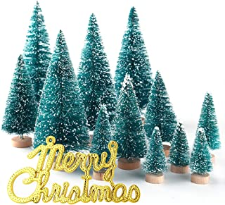 KUUQA 34Pcs Mini Sisal Snow Frost Christmas Trees Bottle Brush Trees Plastic Winter Snow Ornaments Tabletop Trees with Merry Christmas Letters for Xmas Party Home Party Diorama Models